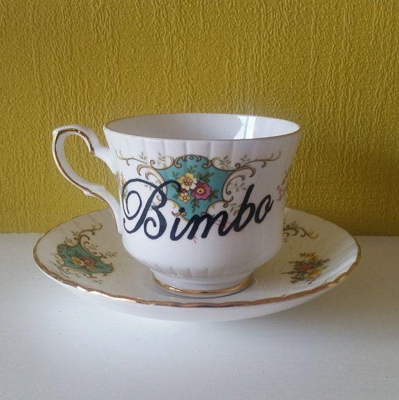Bimbo Tea Cup & Saucer China Set Hand by ImpoliteHandmadeGift