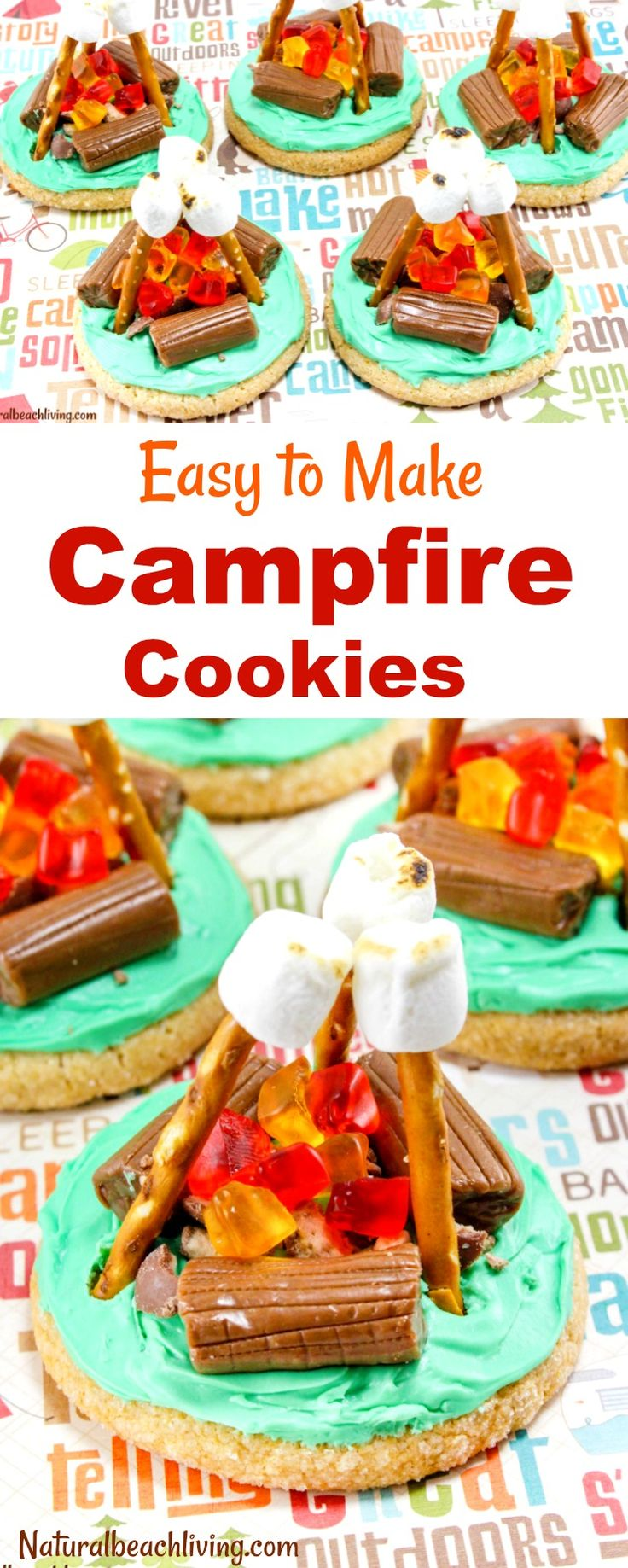 How to Make Campfire Cookies Everyone Will Love, Camping Theme, Camping Party Ideas, Camping food, Party food, Cookies, Easy Sugar Cookie Ideas, Kids Snacks