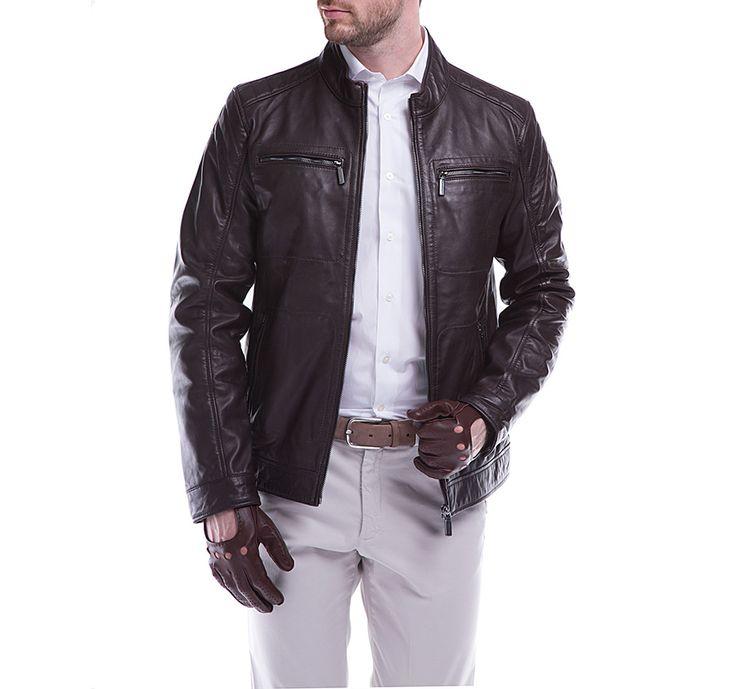 Elegancki brąz w męskiej odsłonie. Skórzana kurtka męska WITTCHEN