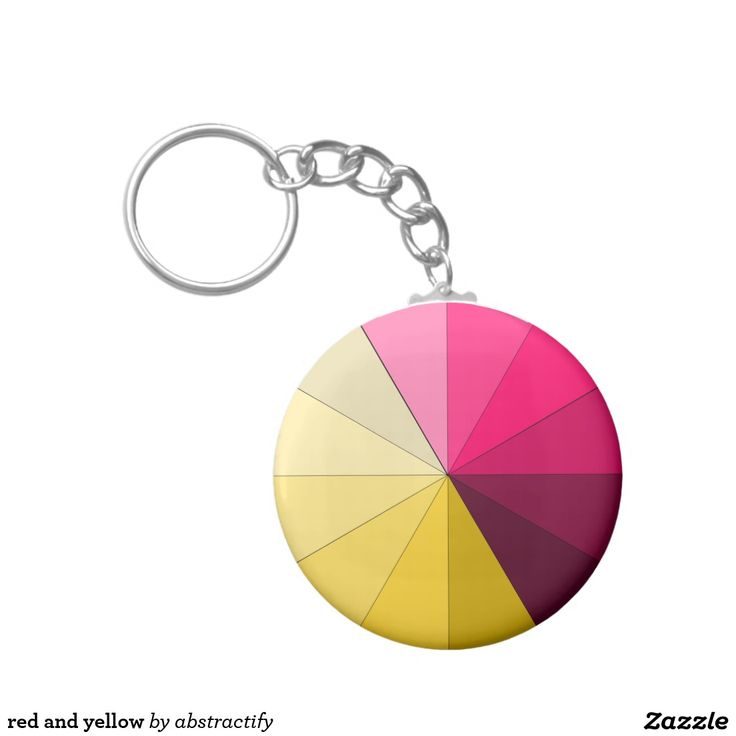 red and yellow basic round button keychain