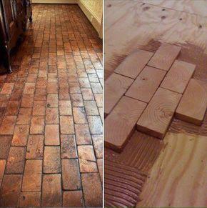 Hardwood Floor using 2×4 slivers