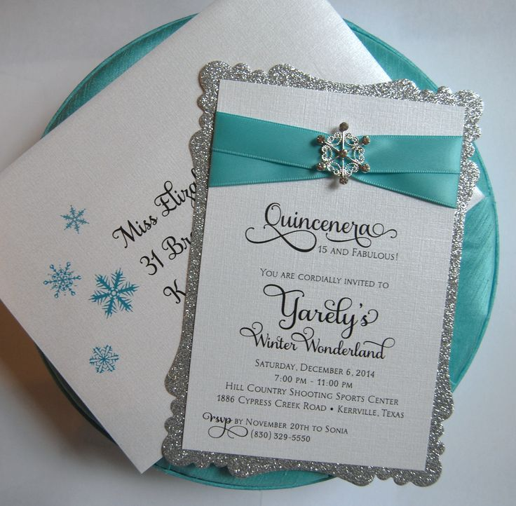 Sweet 16, Quincenera, Baby Shower, 1st Birthday Winter Wonderland Snowflake Invitation - Die Cut Sparkle Silver, Rhinestone Buckle Satin Ribbon - By The Satin Bow - www.satinbow.net