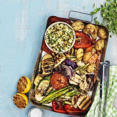Bild på Grillade grönsaker med chunky kikärtsröra