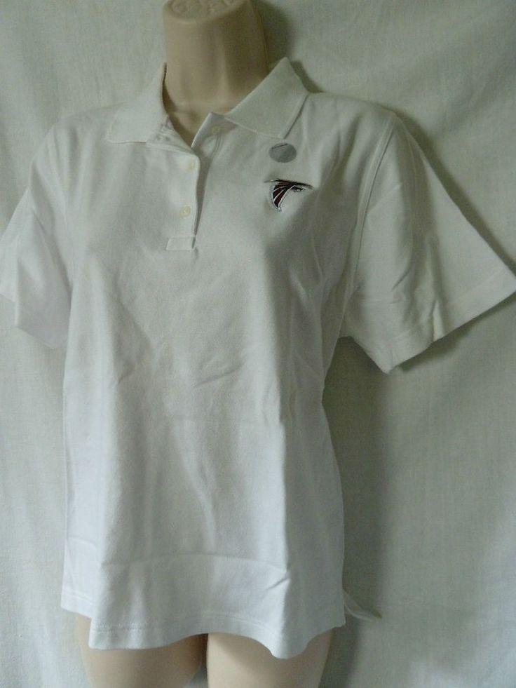 ATLANTA FALCONS Med  M  Woman's White Short Sleve Golf Shirt NWOT Reebok #AtlantaFalcons