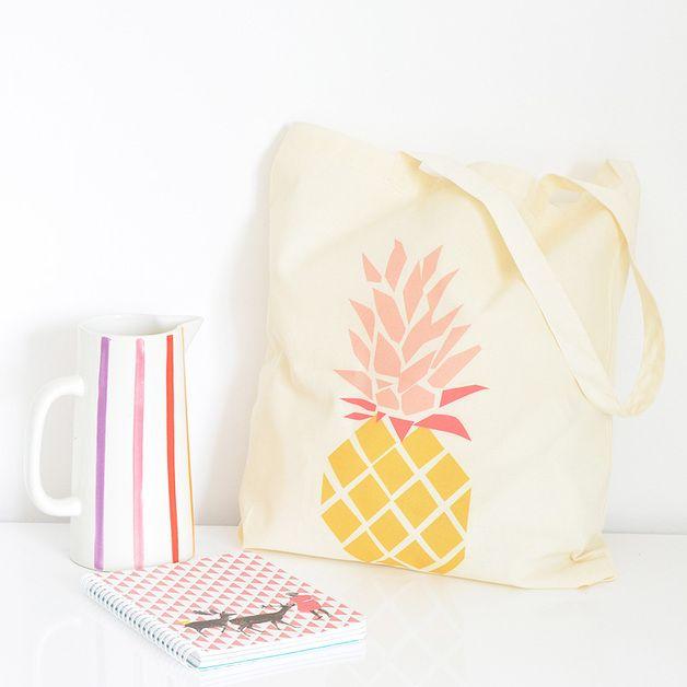 Joli Tote bag Ananas en coton bio aux couleurs du soleil !
