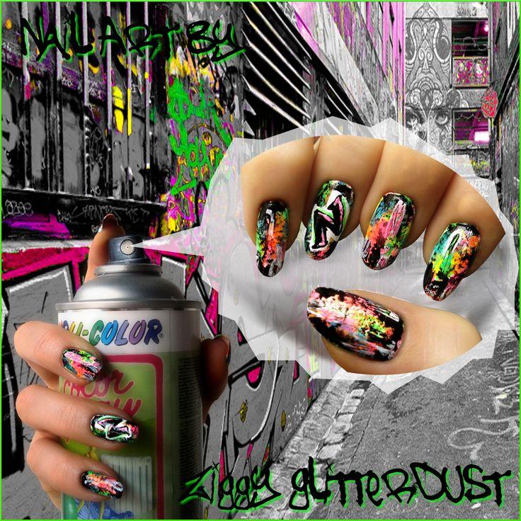Graffiti nail art by Ziggy Glitterdust, neon street art collage