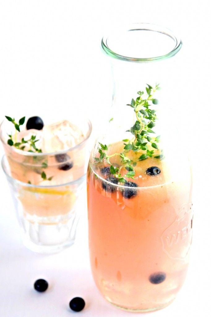 Homemade blueberry-thyme lemonade.