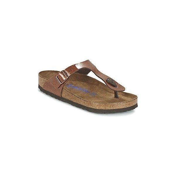 Birkenstock GIZEH Flip flops / Sandals (Shoes) ($97) ❤ liked on Polyvore featuring shoes, sandals, flip flops, brown, women, synthetic shoes, brown flip flops, birkenstock shoes, birkenstock sandals and brown sandals