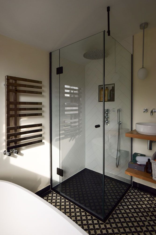 Shower Enclosure With Black Hinges Frameless Shower Enclosures Shower Doors Shower Enclosure
