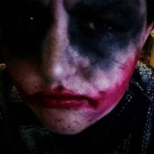 Joker Cosplay using Wet n Wild eyeshadow (sparkly black) and lipstick (cherry frost), and ecotool brushes