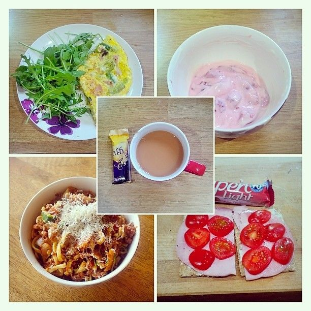 WEEK 18 -breakfast- bacon and leek omelette with rocks accompanied by a cuppa tea (1 SYN for sugar) -lunch- courgetti with left over speedy bolognaise -snack- berries with yogurt cuppa tea (1 SYN for sugar) hi-fi bar (healthy option B 1) -dinner- alpen light bar and 2 sesame Ryvita (healthy option B 2) with a dairy lea triangle (healthy option A as well as milk in tea and a bit if parmesan on the courgetti) ham and tomato -body magic- 45 minutes of netball  #sw #swuk #slimmingworld…