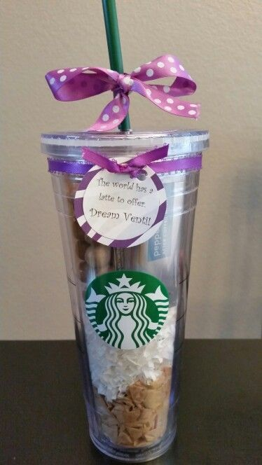 """The gift I made for my cousin's high school graduation. The cute girl at Starbucks offered me some of the tissue paper they use for their displays, then I put white shred on top of that, plus treats from Starbucks and a gift card as the top layer. I worked really hard on the cheesy pun """"The world has a latte to offer. Dream Venti!"""""""