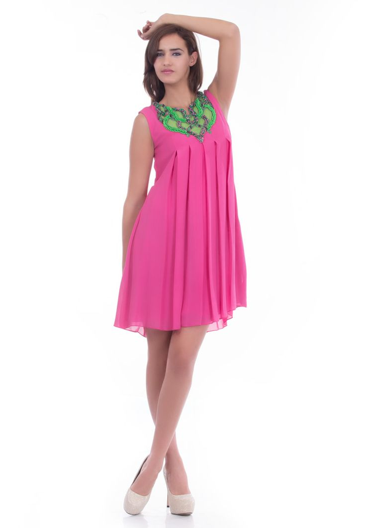 Pink Georgette Box Pleated Tunic -> - Pink Pure Georgette - Sleevless Tunic - close round neck - Box Pleated Detailing at Front & Back - 3D Elements Embroidery - Dry Clean  Order Now : http://www.rinkusobti.com/clothing/pink-georgette-box-pleated-tunic
