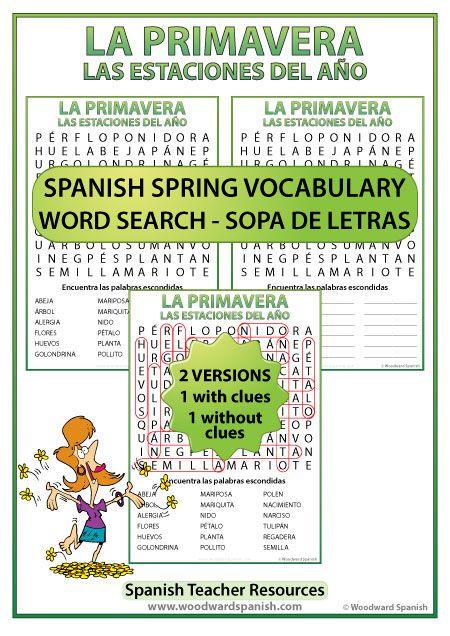 Sopa de letras con vocabulario de la primavera - Spanish Word Search with vocabulary about Spring.