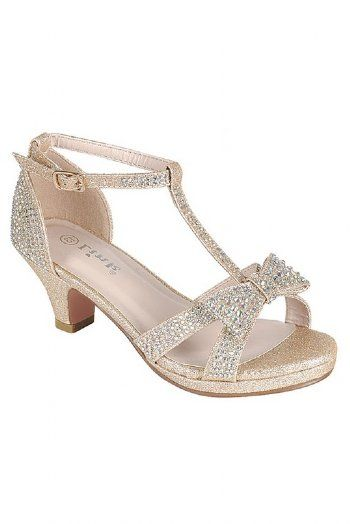 72423e306490 Girls Gold Crystal Bow Heel Dress Shoe Preorder | Tween Girls ...