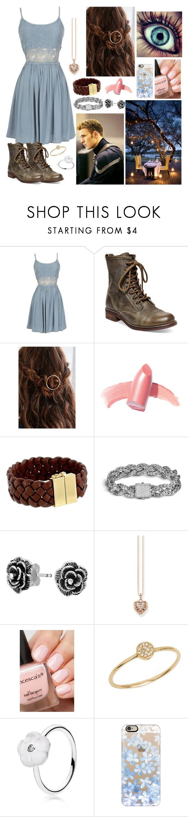 """""""Romantic Dinner With Steve Rogers (Captain America)"""" by brendon-urie-enthusiast ❤ liked on Polyvore featuring Steve Madden, Elizabeth Arden, Cole Haan, John Hardy, Bling Jewelry, Thomas Sabo, Anine Bing, Pandora and Casetify"""