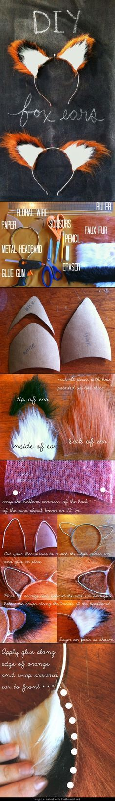 Costume :: Fox Ears DIY tutorial. I dont like the use of the hot glue for these but this is def a good start. | apparel