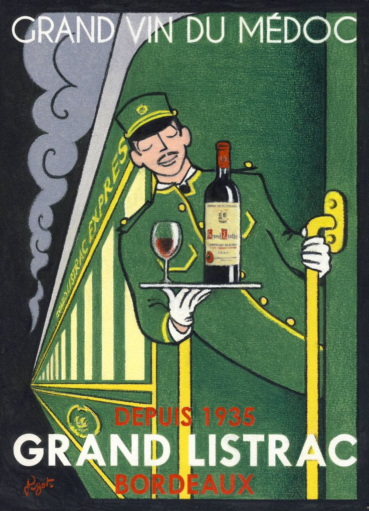 Grand Vin du Médoc - Grand Listrac Bordeaux - The latest wine poster from Jean-Pierre Got (Vintage Wine Posters) #cGreens  #WineWaiter
