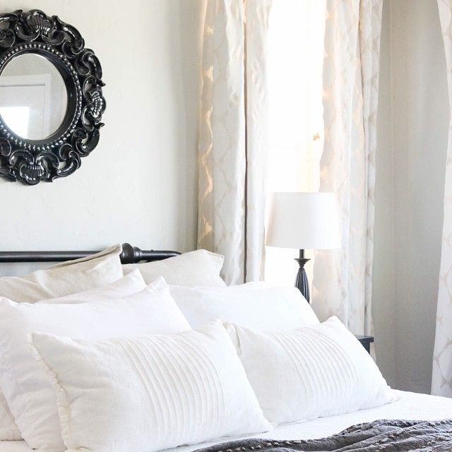 """""""I painted some new curtains for our master bedroom. I couldn't get the ones from @prvbsthirtyonegirl out of my head, so my only option was to make my own! Good thing too... I can now focus on other things!  #ontheblog #thewgc #thewoodgraincottage #masterbedroom #curtains #diy"""" Photo taken by @woodgraincottage on Instagram, pinned via the InstaPin iOS App! http://www.instapinapp.com (07/01/2015)"""
