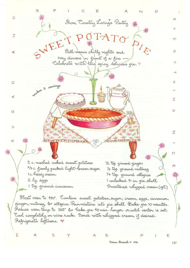 Sweet potato pie susan branch for country living magazine for Country living magazine recipes