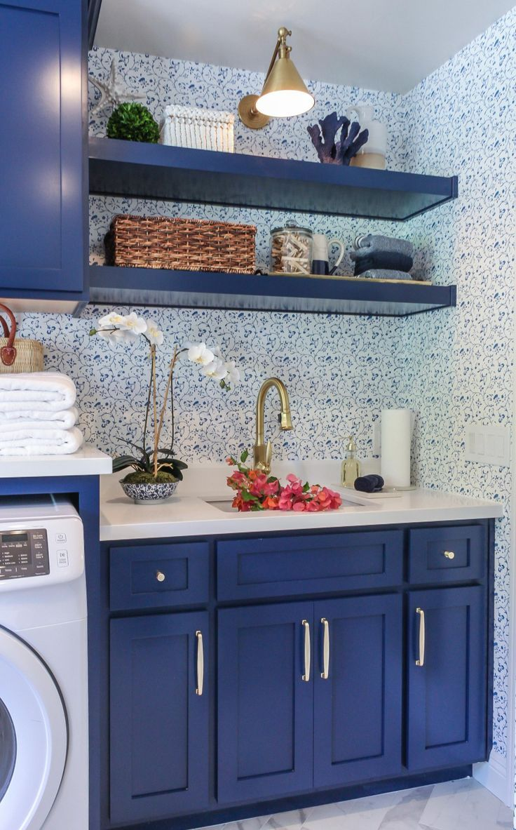 A Freshly Picked Laundry Room Kathy Ann Abell Interiors In 2020 Small Laundry Rooms Blue Laundry Rooms Laundry Room Update