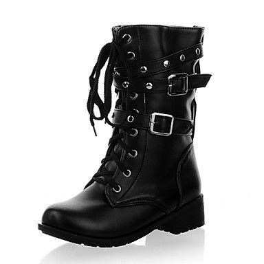 sapatos femininos de salto baixo fivelas rendas até botas de combate tornozelo dianteiros com cadarços gratuitos – EUR € 25.78