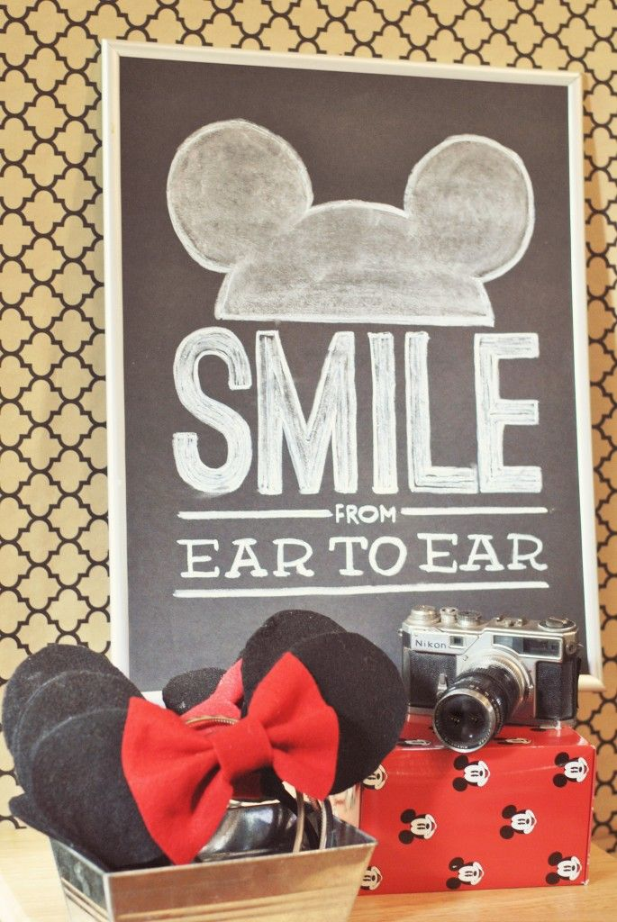 Mickey Ears & Chalkboard photo booth sign - Hudson's Vintage Mickey Mouse Third Birthday Party by One Swell Studio