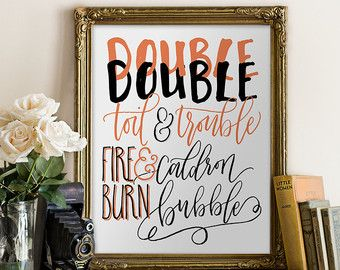 Halloween Download Double Double Toil and Trouble Fall Printable Art // fire burn, caldron bubble, typography, wall decor// Hewitt Avenue