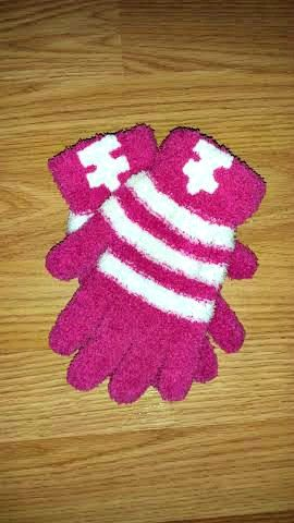 Keep your hands warm this winter with these super soft #Autism Awareness gloves. Pink and white striped chenille mittens adorned with white puzzle pieces. $4