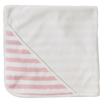 Burt's Bees Baby Organic Double Ply Hooded Striped Knit Terry Towel - Blossom