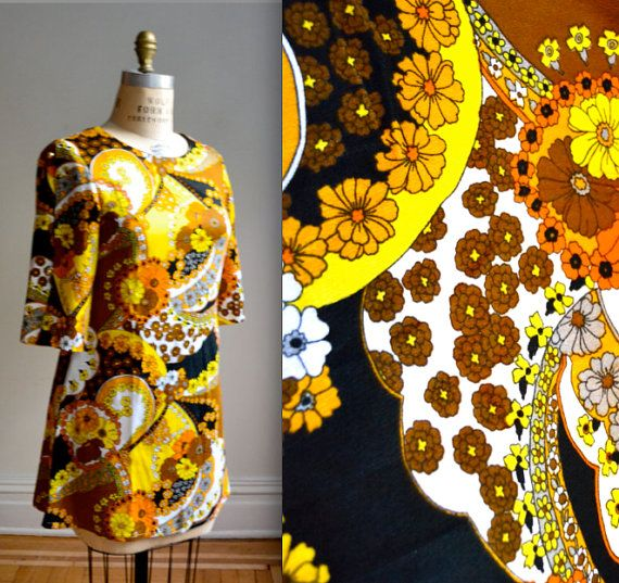 70s Vintage Hawaiian Print Dress Tunic in Yellow by Hookedonhoney