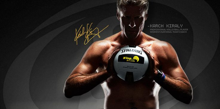 Professional Volleyball Player and National Medal Winning Coach Karch Kiraly holding his Spalding King of the Beach Volleyball