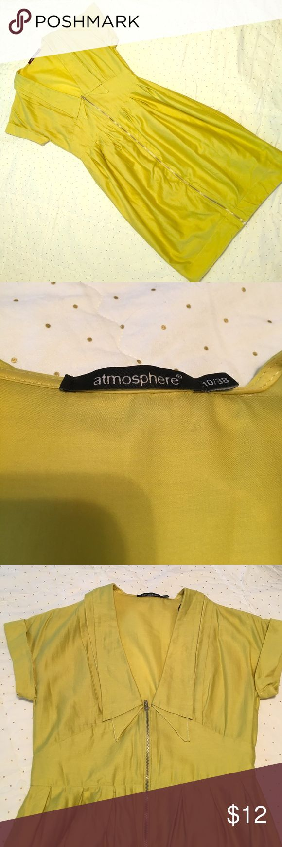 "Atmosphere Primark Dress Purchased in London! 🇬🇧 Beautiful chartreuse citron yellow/green Zip up dress. Size is U.K. 10 which is 8 US. 100% Cotton. Gently worn. Hard for me to part with! 🇬🇧🇬🇧🇬🇧🇬🇧 Length is 36 1/2"". Waist is 14"". Atmosphere by Primark Dresses Midi"