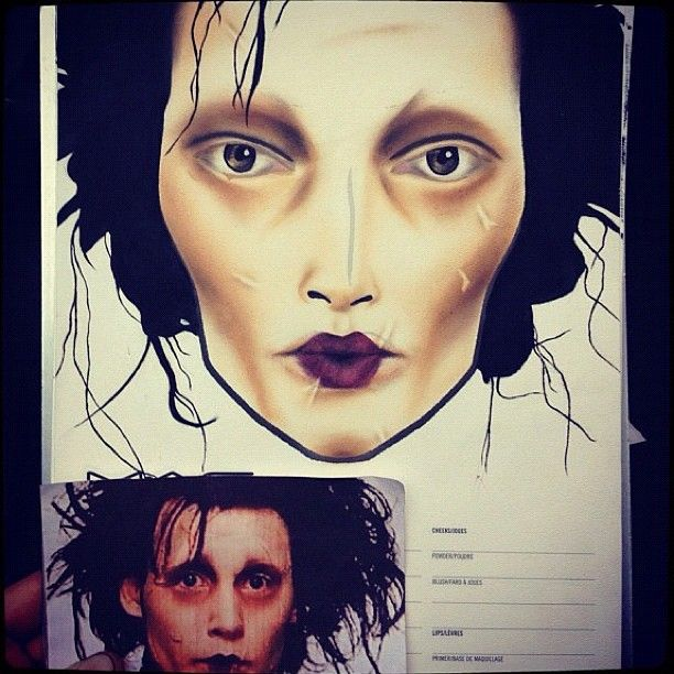 edward scissorhands makeup   lol i love it <3
