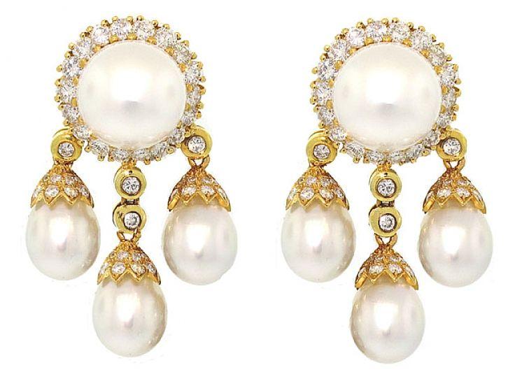 South Sea Pearl and Diamond Earrings in 18K #502061