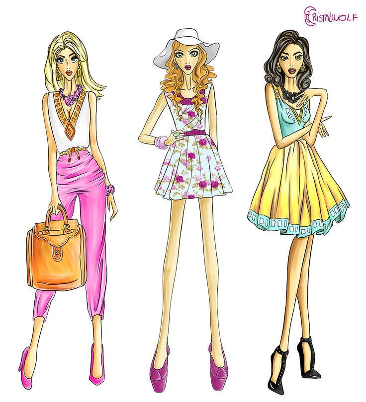 Ilustrações desenvolvidas para a Faculdade da Costura.