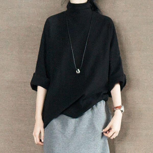 Black Turtleneck Sweater Shirt Causel Women Clothes – FantasyLinen