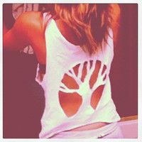 tank top tree cut out back.