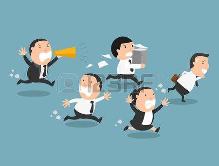 jefa divertido caricatura: Los empleados que huían de su mala boss.illustration, vector Vectores