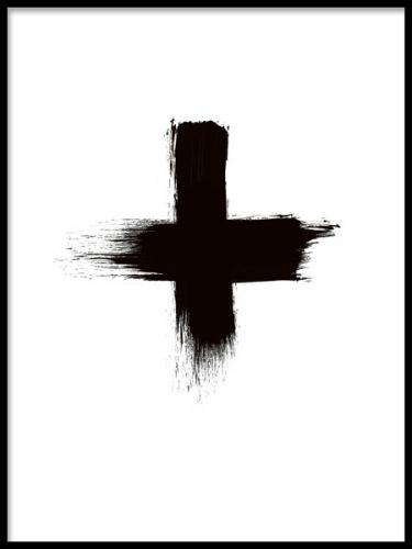 Black Cross, poster. Svartvit stilren poster med kors.Print med svart kors/plus målat med härliga tjocka penseldrag. Stilren, trendig och enkel på samma gång. Gör sig jättefin som en del i tavelvägg tillsammans med våra andra posters och prints i olika storlekar, tillexempel våra fashion posters eller texttavlor.