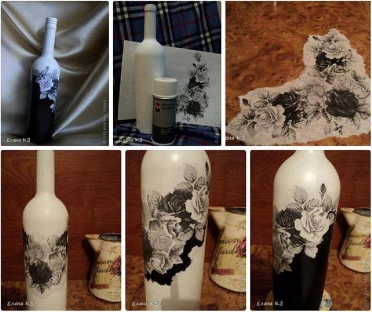 Récupérez une bouteille de vin pour en faire une décoration !VOUS AUREZ BESOIN DE :- Bouteille de vin- Peinture acrylique blanche en aérosol- Peinture acrylique noire - Vernis acrylique mat ou lustré (au choix) en aérosol ou en pot- Pinceau à poi