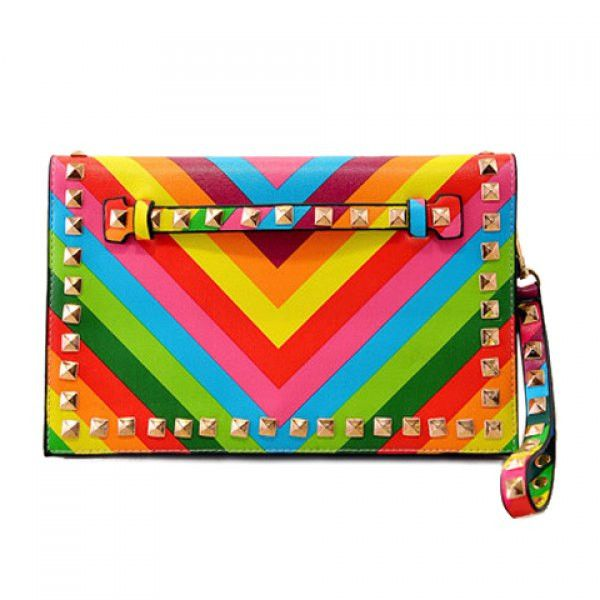 Rainbow Cover Clutch With Rivits