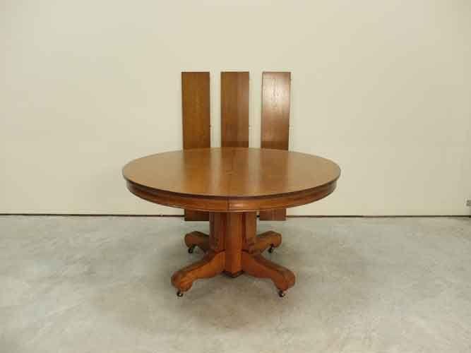 54 Round Tiger Oak Pedestal Dining Table Dining Table Pedestal