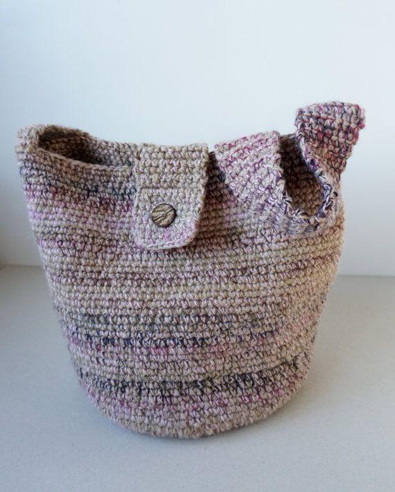 Handmade  Wool Cotton Cross Body Bag /Crochet Hobo Bag / Drops Yarn / Women Beige Grey Dusty pink/ Everyday Bag