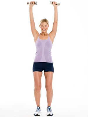 Tone your arms Beginner: Shoulder Press. Stand with feet shoulder-width apart, holding a dumbbell in each hand.      Bend elbows, bringing hands to shoulders, palms facing forward.      Press weights straight overhead, keeping shoulders down; lower weights back to shoulders.      Do 20 reps.