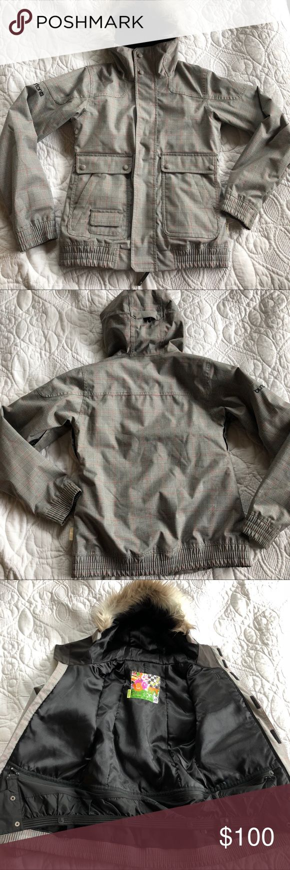 XS women's Burton snowboarding jacket Like new hardly used Burton snowboarding jacket with faux fur lined hood. Had tons of pockets (hidden and seen) very warm. Measurements are in pics. There are 2 Very small spot on the jacket (also in pics) smoke free home. Open to offers. Burton Jackets & Coats