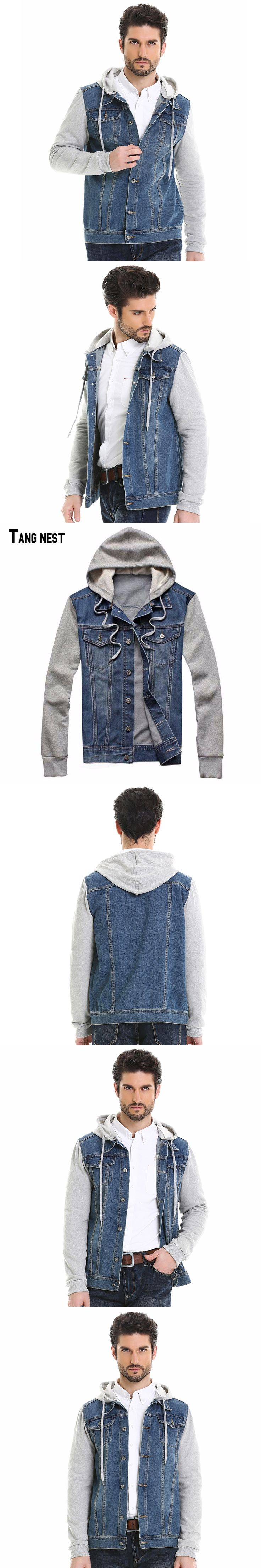 TANGNEST 2017 New Fashion Men's Hoodie Cowboy Jeans Jackets Male Denim Plus Size Jeans Jacket Hoodie Detachable MWJ1291