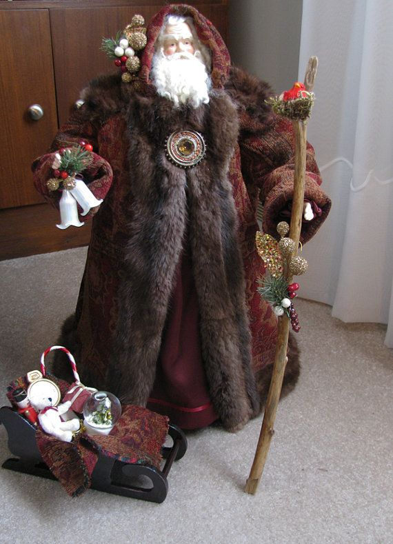 Father Christmas Doll Burgundy and Brown by FatherChristmasJoy, $325.00