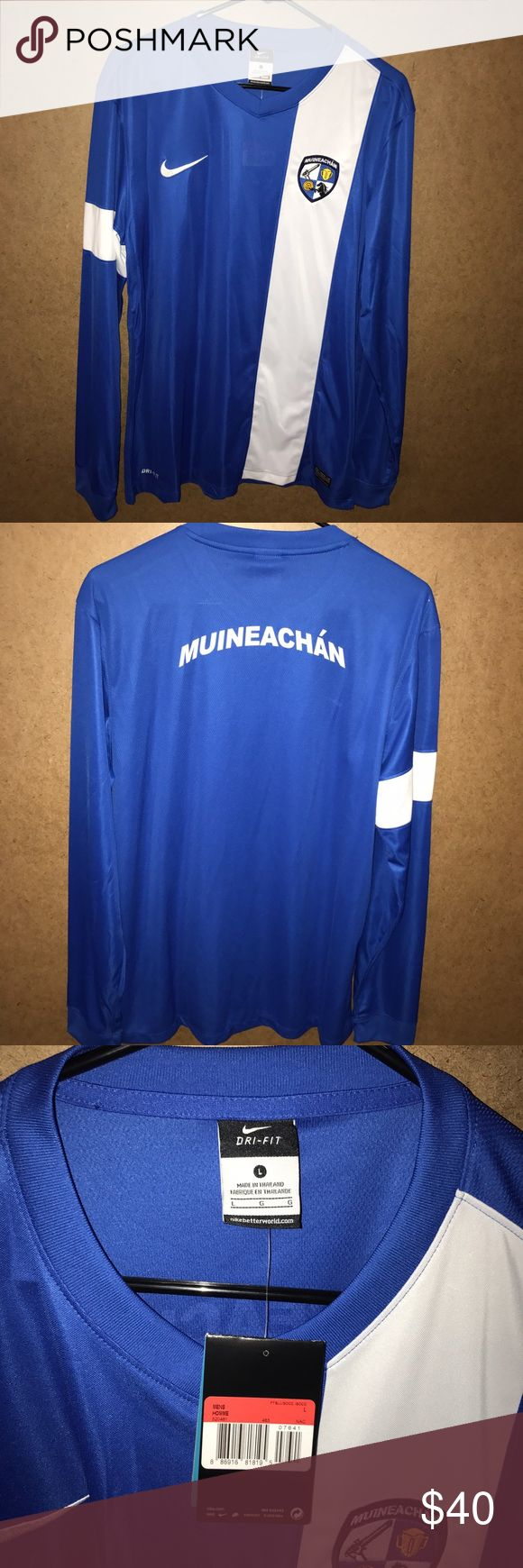 Nike Muineachán Soccer Jersey NWT Men's Muineachán Nike Soccer Jersey. Size Large. Jersey is from the Gaelic Athletic Association Senior Football Cup Team. Not a common Jersey... this is the first one I've seen. Would be pretty cool to own. Jersey is in MINT condition. Zero flaws. Nike Shirts