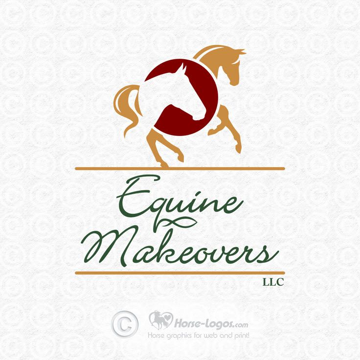 Custom horse logo design created for Equine Makeovers, LLC. Copyrighted by new owner. You can purchase your own custom logo at Horse-Logos.com   #horse #art #logo #equine #graphic #equestrian #design #brand #branding #identity #trademark